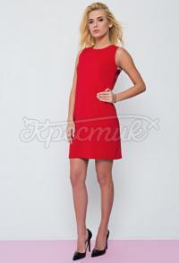"""Украинское платье с вырезом на спине красное """"Лайт"""" фото"""