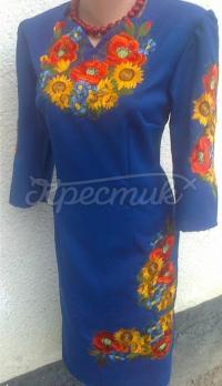 """Жіноча вишита сукня """" Польовий колір"""" купити"""