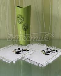 Набір серветок з вишивкою « Панди» замовити Київ.