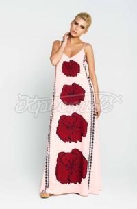 """Довгий жіночий літній сарафан """"Маки"""" фото"""