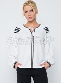 """Біла жіноча блузка в українському стилі """"Загадка"""" фото"""