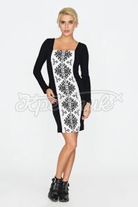 Сукня  прямого покрою з принтом вишивки придбати