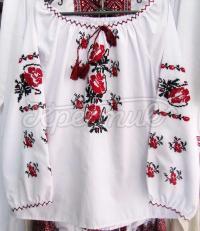 Вишита сорочка для дівчинки з трояндами