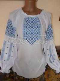 Шифоновая женская блуза с голубой вышивкой купить Киев