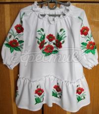 Дитяче плаття з вишитими маками