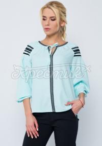 """М'ятна жіноча блузка в українському стилі """"Загадка"""" фото"""