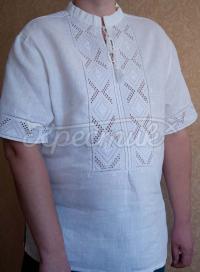 Чоловіча вишиванка білим по білому короткий рукав фото