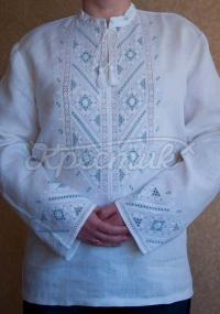 Мужская вышиванка ручной работы белая с синим фото