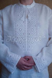 Чоловіча вишиванка білим по білому лічильна гладь фото