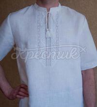 Фото - чоловіча вишиванка білим по білому ручної роботи