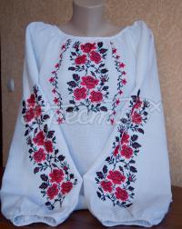 """Женская вышиванка в украинской стиле """"кусты роз"""" фото"""