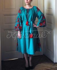 """Льняное вышитое платье """"Птицы счастья"""" фото"""