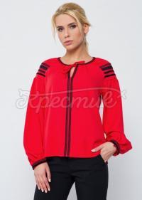 """Красная женская блузка в украинском стиле """"Загадка"""" фото"""