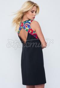 """Украинское платье с вырезом на спине черное """"Лайт"""" фото"""