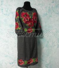 """Українське плаття """"Маки на сірому"""" фото"""
