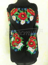 """Женская вышиванка на черном шифоне """"Полевые цветы"""" купить"""