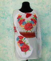 Женская вышиванка с маками и васельками крестиком купить Киев