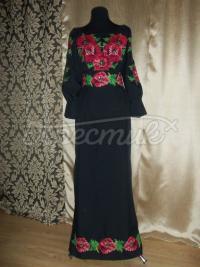 Украинское маковое платье черного цвета купить