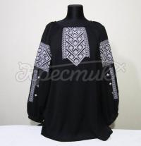 Шикарна жіноча вишиванка на чорному шифоні купити Київ