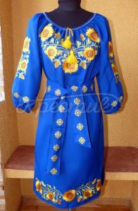 Синее украинское платье с желтыми подсолнухами купить Киев