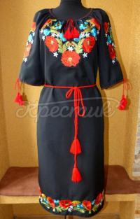 """Украинское платье вышиванка """"Маковая песня"""" фото"""
