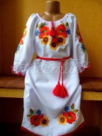 """Українське плаття вишите """"Польові квіти"""" фото"""