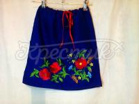 Синяя вышитая юбка на девочку