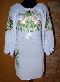 """Вышитое женское платье """"Белые орхидеи"""" фото"""