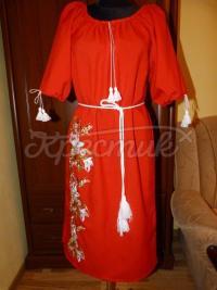 """Вишите жіноче плаття """"Червоний фурор"""" фото"""