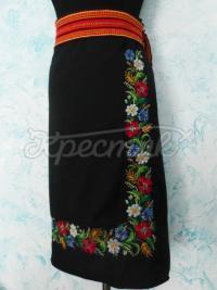 Украинская черная юбка с цветами