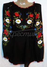 Черная женская блузка с маками и ромашками
