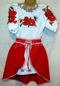 Вышитый костюм с красной юбкой на девочку