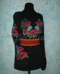 Цветочная вышиванка из черного шифона