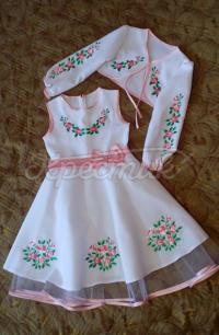 """Вишите плаття для дівчинки """"Рожеві квіточки"""" фото"""