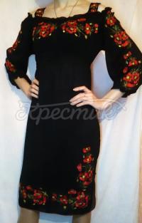 Вышитое черное женское шифоновое платье