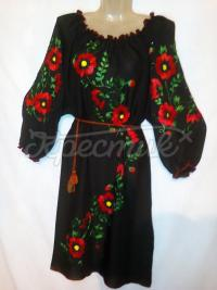 Макове чорне вишите плаття жіноче