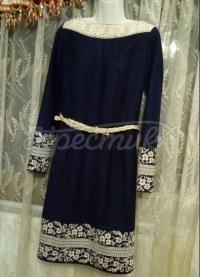 """Жіноче темно-синє плаття з вишивкою """"Сокаль"""" фото"""