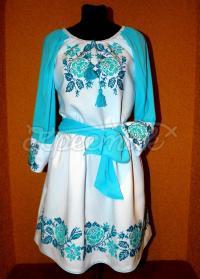 """Жіноча вишита сукня на замовлення """"Блакитна Фантазія"""""""
