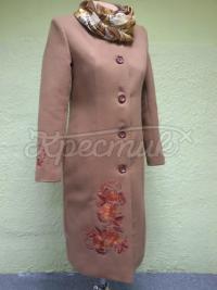 Стильне вишите жіноче пальто мокко фото