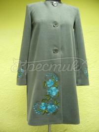 Зелене пальто кашеміру з вишивкою фото