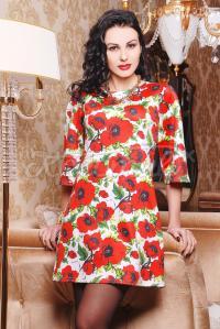Белое платье с крупными цветами купить Киев