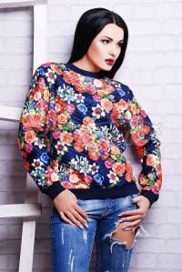 Пестрая кофта с большими цветами заказать Украина