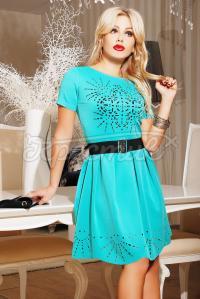 Бірюзове плаття з перфорацією купити Київ