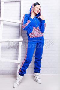 Синий теплый украинский спортивный костюм