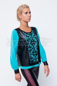 Блуза з шкіряними вставками купити Україна