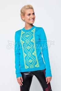 Блакитний светр з жовтим орнаментом купити Київ