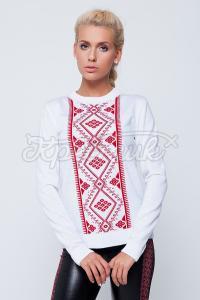 Белый свитер с украинским орнаментом заказать через интернет