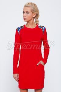 Червона сукня з візерунковою вставкою купити Київ