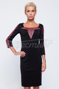 """Черное платье с принтом заказать на сайте """"Крестик"""""""