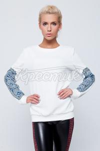 Белый свитшот с имитацией вышивки купить Киев